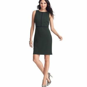 LOFT Green Tipped Sheath Dress with Piping Trim